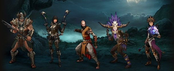 Barbarian, Demon Hunter, Monk, Witch Doctor and Wizard