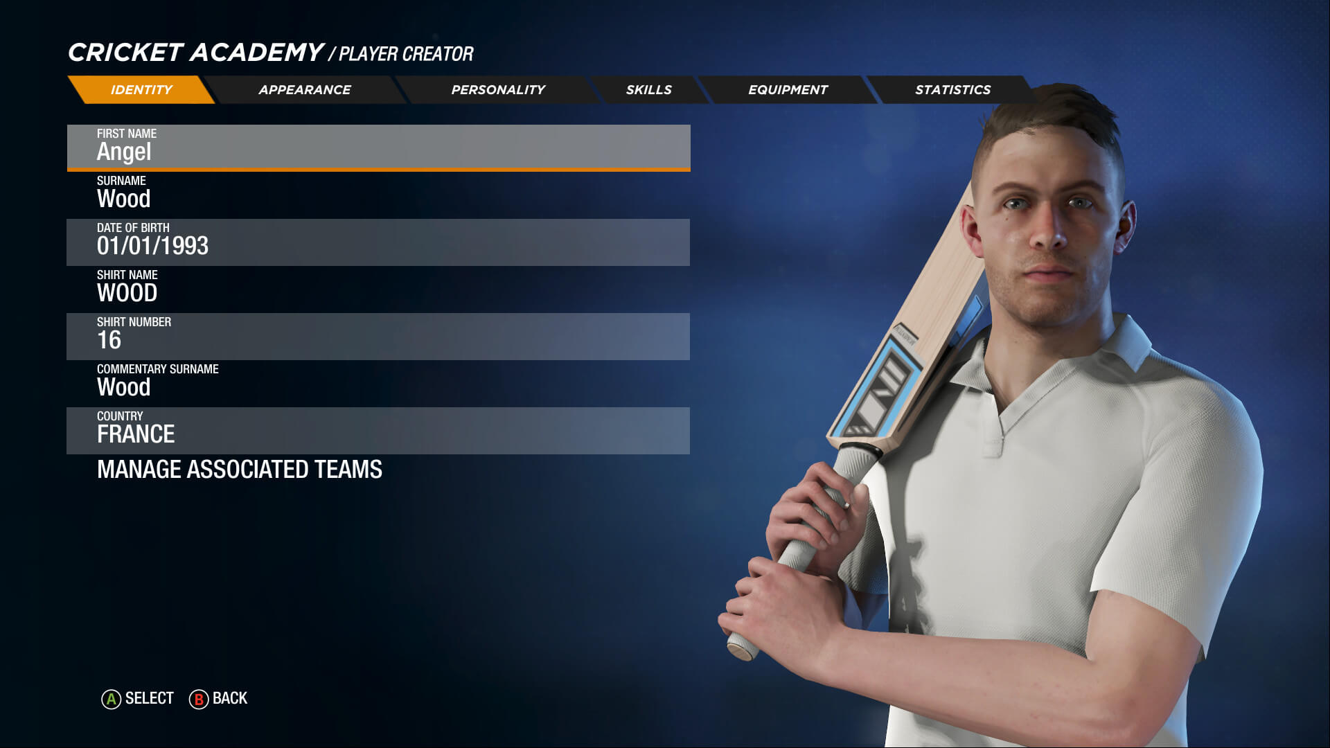 Cricket 19 Player info